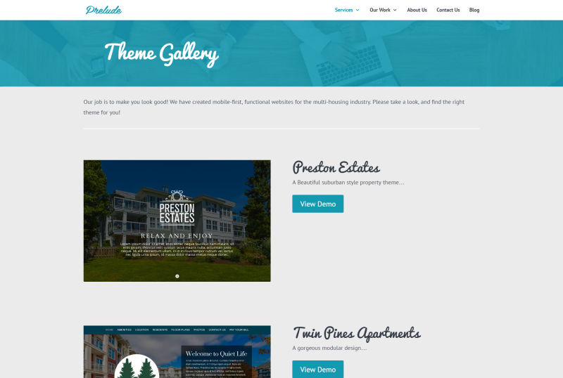 New Theme Gallery Offers Custom Quality at Apartment Website Template Price