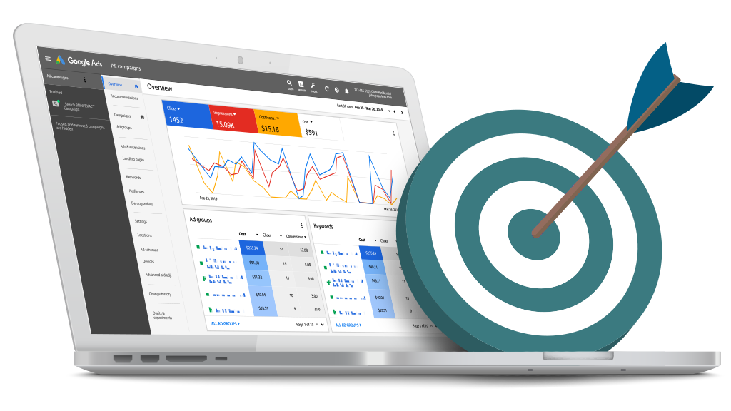 Laptop showing paid advertising statistics and results with an illustrated bullseye